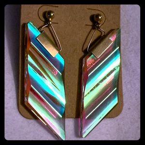 Vintage 80's Iridescent Glass Geometric Earrings